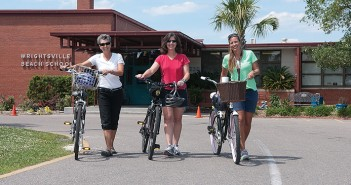 Staff photo by Allison Potter. Wrightsville Beach School teachers Cissie Brooks, from left, Sandra Roberts and Joelle Newman rode their bikes to and from work during National Bike to Work Week, May 12-16.
