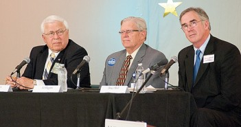 Staff photo by Allison Potter. Incumbents Don Hayes, from left, and Ed Higgins, and challenger Bruce Shell discuss the issues involved in the race for New Hanover Board of Education during a candidates forum held by the League of Women Voters of Lower Cape Fear on Thursday, April 17 at the Senior Resource Center.