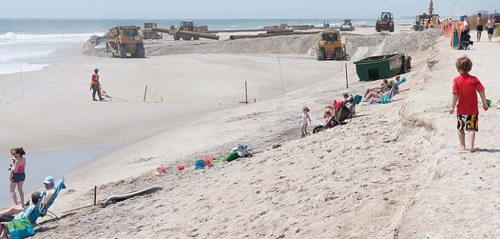 Staff photo by Allison Potter. The beach renourishment project continues near Stone Street on Thursday, May 1.