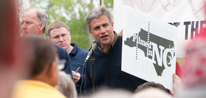 Lumina News file photo. Wilmington Mayor Bill Saffo speaks during a rally to support the film industry in North Carolina on April 20, 2013. Saffo and Rep. Susi Hamilton held a press conference in Raleigh on Wednesday, June 25 asking lawmakers for an extension of the state's current tax credit.