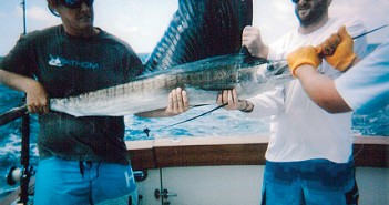 Supplied photo courtesy of the Eddy Haneman Sailfish Tournament. Brent Sewell, left, and Marshall Davis aboard Pelagic Magic hold one of eight sailfish caught during the 2013 Eddy Haneman Sailfish Tournament.