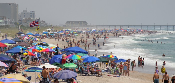 Crowds stretched from Crystal Pier to Johnnie Mercer's Pier on Wrightsville Beach.