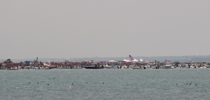 Crowds on Masonboro Island for Fourth of July 2014.