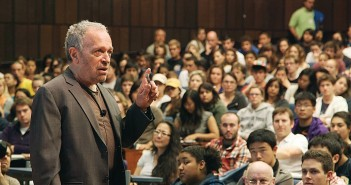 Supplied image courtesy of Inequality for All. Robert Reich speaks to students in his Wealth and poverty class at the University of California Berkeley.