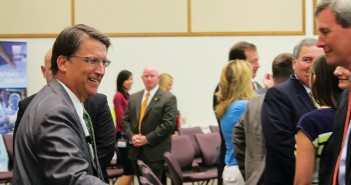 Staff photo by Cole Dittmer. North Carolina Governor Pat McCrory meets business leaders gathered for the North Carolina Business Committee for Education meeting at the Wilmington Corning plant on Thursday, July 17.
