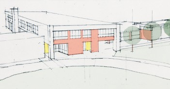 Illustration by Sawyer Sherwood & Associate. A conceptual plan by Sawyer Sherwood & Associate for the renovation and expansion of Wrightsville Beach School shows the addition of a second floor running nearly perpendicular to the existing building.