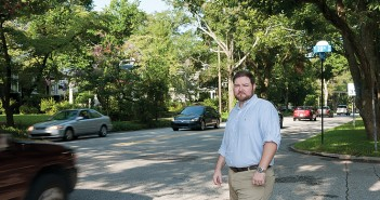 Staff photo by Allison Potter.  Charles Blanton, president of the Carolina Place Ardmore Neighborhood Association and supporter of the Market Street road diet, stands at the intersection of Market and 20th streets Wednesday, Aug. 20.