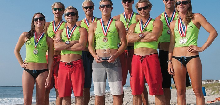 Staff photo by Allison Potter. A team of 14 lifeguards represented Wrightsville Beach Ocean Rescue at the 2014 United States Lifesaving Association National Lifeguard Championships in Virginia Beach. Taking third place in the small beach category, competitors included, front row left to right: Rachel Keith, Zach Sowers, Sawyer Dove, Ray McGorry, Lindsey Lynskey; back row left to right: Alex Labonge, Josh Drew, Kyle Miess, Hunter Hay.