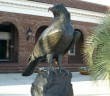 The bronze Sammy the Seahawk statue that was stolen from the University of North Carolina Wilmington's campus was returned on Tuesday, Aug. 26. Contributed photo from UNCW.