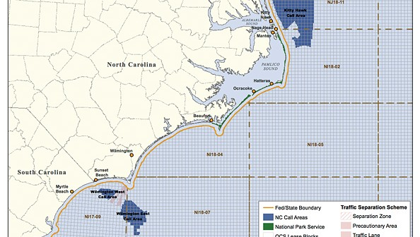 Supplied illustration courtesy of the U.S. Bureau of Ocean Energy Management.  The U.S. Department of the Interior and Bureau of Ocean Energy Management identified the areas off of the coast of North Carolina that could soon be leased to offshore wind energy companies following an environmental assessment of those areas.