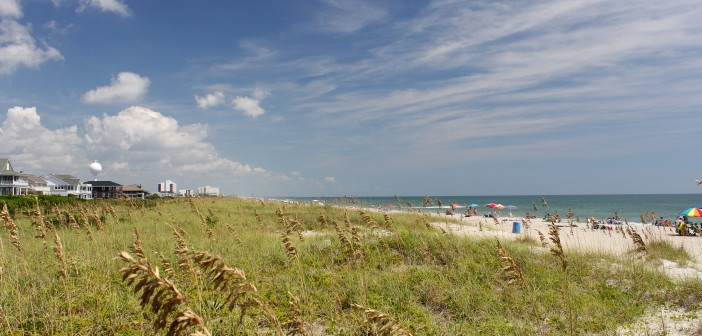 Labor Day Monday, Sept. 1, 2014, looking north down Wrightsville Beach.