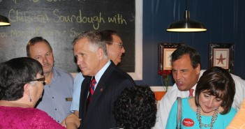North Carolina U.S. Senatorial candidate Thom Tillis and New Jersey Governor Chris Christie greet supporters at Dixie Grill in downtown Wilmington Tuesday, Sept. 16.