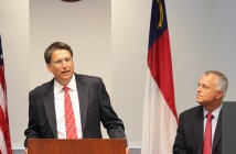 North Carolina Governor Pat McCrory presents his 25 year transportation infrastructure plan with N.C. Secretary of Transportation Tony Tata.