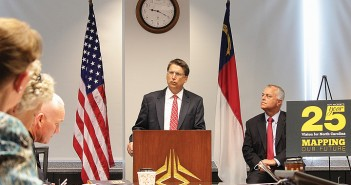 Staff photo by Cole Dittmer.  North Carolina Governor Pat McCrory and Secretary of Transportation Tony Tata presented the governor's 25-year long-range transportation plan at Wilmington International Airport Wednesday, Sept. 17.