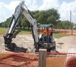 Staff photo by Emmy Errante. Construction continues on a rain garden being built on W. Salisbury Street Tuesday, Sept. 2.