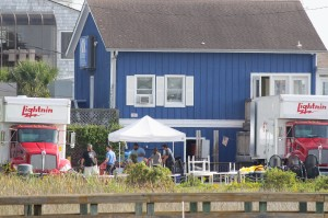 "Crews set up to film ""The Choice"" outside Dockside Restaurant Monday, Oct. 13."