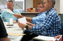 Staff photo by Emmy Errante. Mayor Bill Blair and Planning Board Chairman Ace Cofer attend the joint meeting between the Wrightsville Beach Board of Aldermen and the Planning Board Tuesday, Oct. 28.