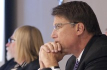 Gov. Pat McCrory listens as six panelists discuss current coastal issues during an Oct. 22 N.C. Coastal Resources Commission meeting at the Hilton Wilmington Riverside