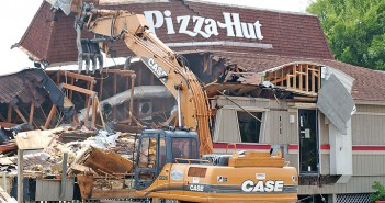 Lumina News file photo. The Pizza Hut at 101 W. Salisbury St. is demolished July 22, 2004. The property was later rezoned from commercial to residential and currently sits vacant.