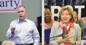Staff photos by Cole Dittmer. Democratic Sen. Kay Hagan and Republican hopeful Thom Tillis both addressed supporters in Wilmington Oct. 30.