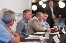 Staff photo by Allison Potter. Randy Johnson of Builders FirstSource speaks at a roundtable discussion organized by the Wilmington-Cape Fear Home Builders Association sales and marketing council Wednesday, Oct. 8 at Lumina Hall.