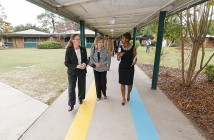 Supplied photo courtesy of New Hanover County. Principal Maria Greene, from right, leads New Hanover county school board member Jeannette Nichols and New Hanover county commissioner Beth Dawson on a tour of College Park Elementary School Oct. 16, 2013.