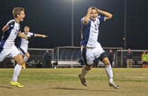 Staff photo by Emmy Errante. Daniel Escobar reacts to scoring a goal during the Seahawks' first-round NCAA game Thursday, Nov. 20 at UNCW Soccer Stadium.