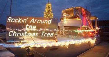 Lumina News file photo. Ken White's entry in the 2004 North Carolina Holiday Flotilla, Rockin' Around the Christmas Tree, sits docked before the parade begins.