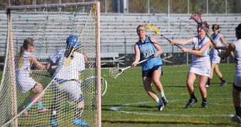 Supplied photo courtesy of Hoggard Girls Lacrosse.  Julia Buehler of Hoggard High School's girls' lacrosse team takes a shot on the Laney High School goal.