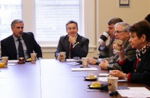 Members of Wilmington City Council and senior staff met with the a local delegation of state legislators including Senator Michael Lee, R-New Hanover, second from left, at City Hall for a legislative breakfast Friday, Jan. 23.