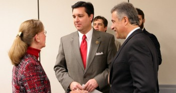 U.S. Rep. David Rouzer, R-N.C., talks with New Hanover County Commissioners Vice Chair Beth Dawson and Wilmington Mayor BIll Saffo during a Jan. 26 visit in Wilmington, where he announced opening of a district office.