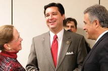 Staff photo by Cole Dittmer. U.S. Congressman David Rouzer, R-N.C., center, speaks with New Hanover County Board of Commissioners vice chairwoman Beth Dawson and Wilmington Mayor Bill Saffo while in Wilmington Monday, Jan. 26.