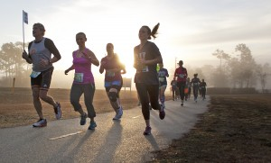 Runners race on the cross-city trail along Eastwood Road during Wilmington's first Race 13.1 Feb. 22.