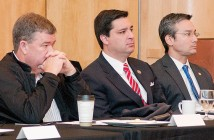 Staff photo by Allison Potter. Wrightsville Beach Mayor Bill Blair, U.S. Congressman David Rouzer, R-N.C., and N.C. Senator Michael Lee, R-New Hanover, listen as leaders from New Hanover County, the county's three beach towns, and the local delegation in Raleigh discuss challenges being faced by local beach towns Friday, Feb. 20 during a breakfast meeting at the Blockade Runner Beach Resort.