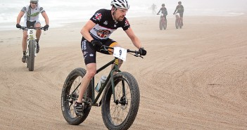 Staff photo by Emmy Errante. Michael Vandenheuvel from Cary, N.C. competes in the expert division of the U.S. Open Beach Fat Bike Championships Saturday, March 14 at Wrightsville Beach.