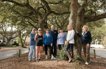 Staff photo by Allison Potter. Live Oak Drive residents David Cignotti, from left, Shana Bourgeois, Coleman Cooper, Walter Laughlin, Priscilla Bourgeois, Joetta Cobb, Brenda Olson are concerned about Duke Energy's tree-trimming plan for their street.