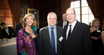 """Peter Benchley Ocean Awards co-founder, Wendy Benchley, """"Hero of the Seas"""" Award winner, Todd Miller (center), and National Stewardship Award winner, Prince Albert II of Monaco at the 2015 Ocean Awards ceremony in Washington D.C. Photo credit: Jeffrey Dubinsky for the Peter Benchley Ocean Awards."""