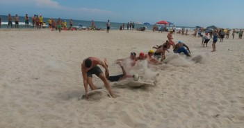The beach flags race is a fan favorite at the lifeguard competitions.