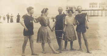 Contributed photo courtesy of Elaine Henson. In her Bathing Beauties presentation, Elaine Henson will guide audience members through 50 years of American coastal history by using images from historic postcards, like this one from Wrightsville Beach in the early 1900s.