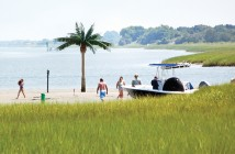 Staff photo by Emmy Errante.  Boaters enjoy Palm Tree Island near the entrance to Lees Cut, at Wrightsville Beach, Tuesday, June 30.