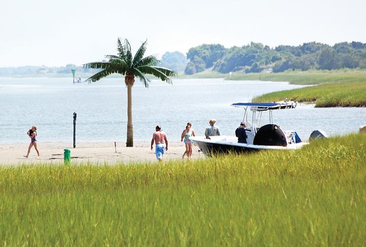 Boaters Enjoy Palm Tree Island