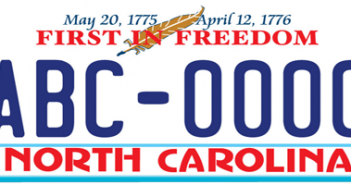 """A sample image of the new """"First in Freedom"""" license plate, courtesy of the N.C. Division of Motor Vehicles."""