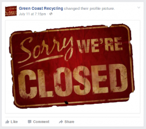 The July 11 Facebook post from Green Coast Recycling announcing the company was out of business.