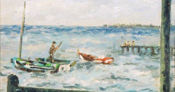 """Marina Cubana"" (Cuban seascape), 1959, is part of the ""Obra de Arte"" José Bernal exhibit at the Cameron Art Museum."