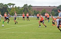 Staff photo by Emmy Errante. The University of North Carolina Wilmington men's soccer team runs drills Thursday, Sept. 24 at the team's practice fields.