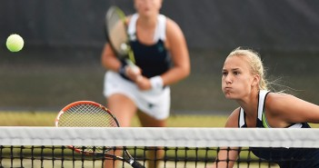 Supplied photo courtesy of University of North Carolina Wilmington. University of North Carolina Wilmington junior Annika Sillanpaa works the net during doubles play at the Seahawk Invitational Sunday, Sept. 13.