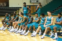 Staff photo by Terry Lane. Members of the 2015-16 University of North Carolina Wilmington men's basketball team relax while waiting to meet the press during media day Oct. 1.