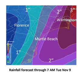National Weather Service rainfall forecast through Tuesday, Nov. 10. Photo courtesy NWS.
