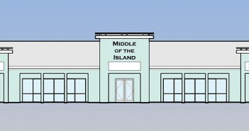 Photo courtesy of Nathan Sanders. A rendering shows renovations to the former Middle of the Island building.