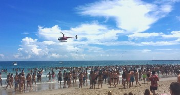 Wrightsville Beach police issued citations to the helicopter company that dropped flyers over students at UNCW's Beach Blast on Tuesday, Aug. 16. Photo courtesy of Caleb Kuhne.